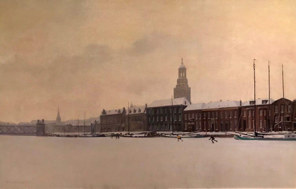 schaatsers op de IJssel bij Kampen in 1929 door Maarten Meuldijk
