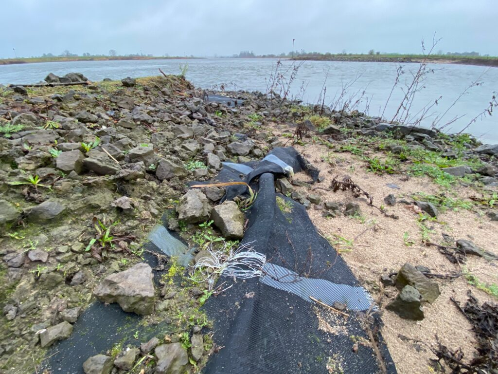 Losliggende oeverdoek langs de IJssel