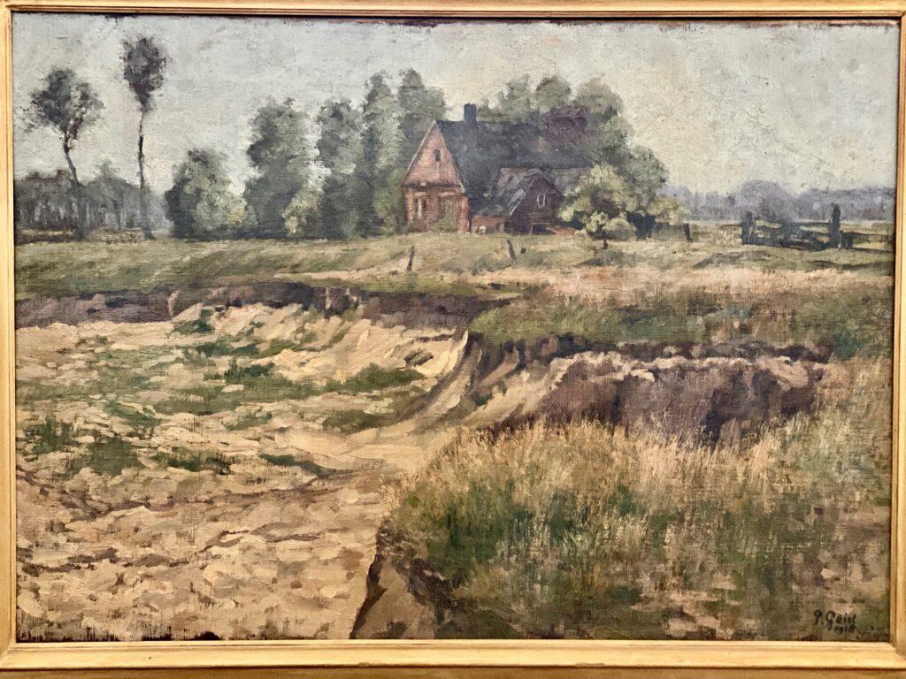 IJsseloever tussen Deventer en Olst in 1918. Schilder P. Geist.